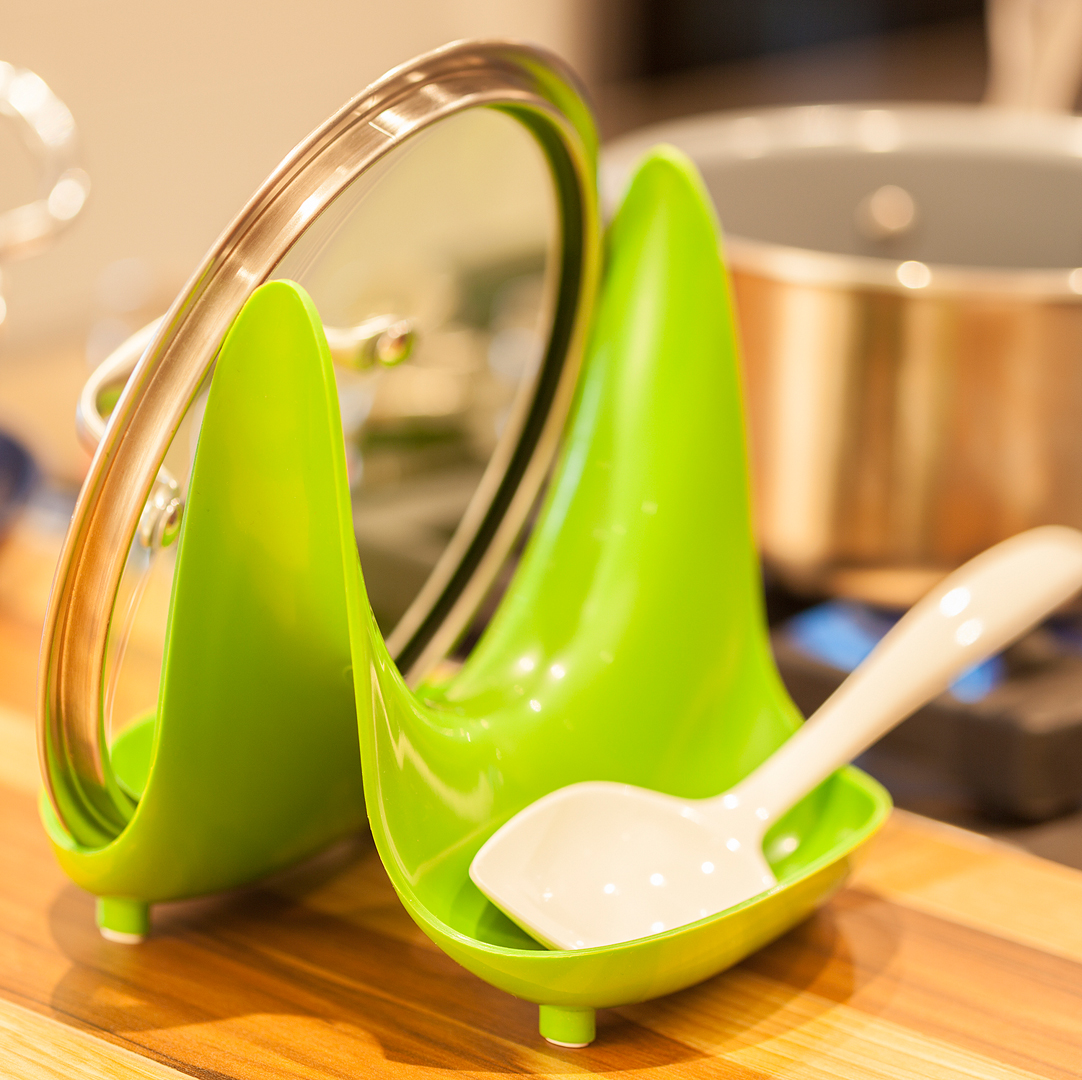 Pot Lid Stand with Spoon Rest